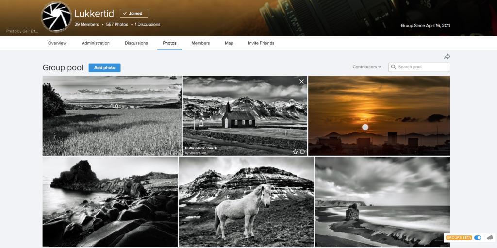 Lukkertids side på Flickr er siden for eksperimentering og masseformidling av bilder.